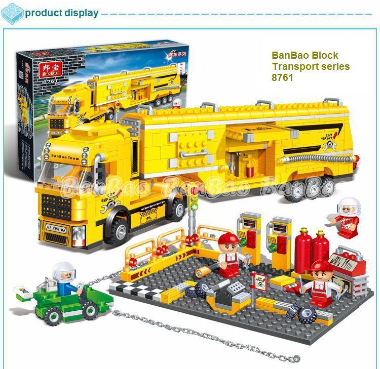 learning & education Banbao Transport Series 8761 Big F1 Truck 660pcs Building Block Set Bricks Toy lego compatible