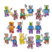 Mine World Action Figure Mini Crystal Zombie Steve Skeleton Compatible Legoed Minecrafted Building Block My Craft