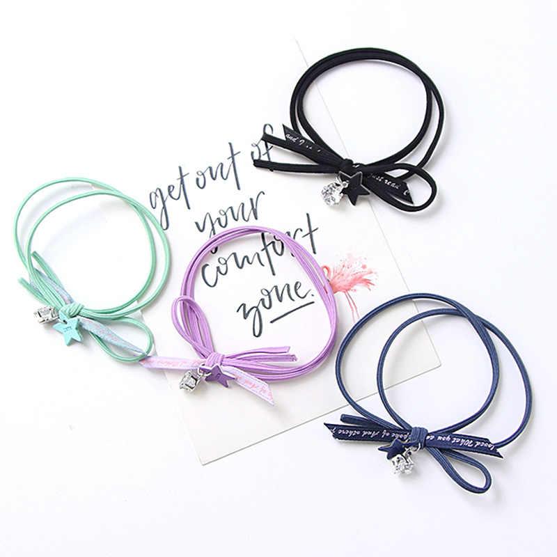 Новые модные женские милые яркие цвета металлические звезды белые кристаллы эластичные резинки для волос веревки для девочек резинки для волос аксессуары для волос