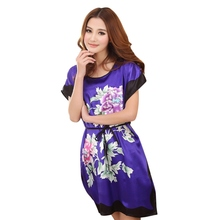 Дамы пижамы платья шею печатных женщин ночные рубашки лето осень последние(China (Mainland))
