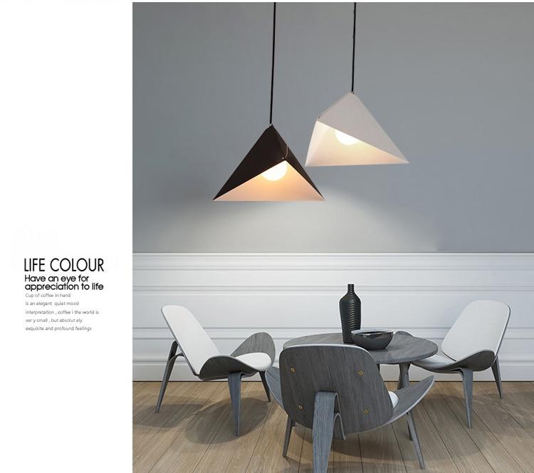 Işıklar ve Aydınlatma'ten Kolye ışıkları'de Nordic basitlik kişilik geometrik tasarım kolye ışık restoran ofis bar oturma odası demir asılı aydınlatma