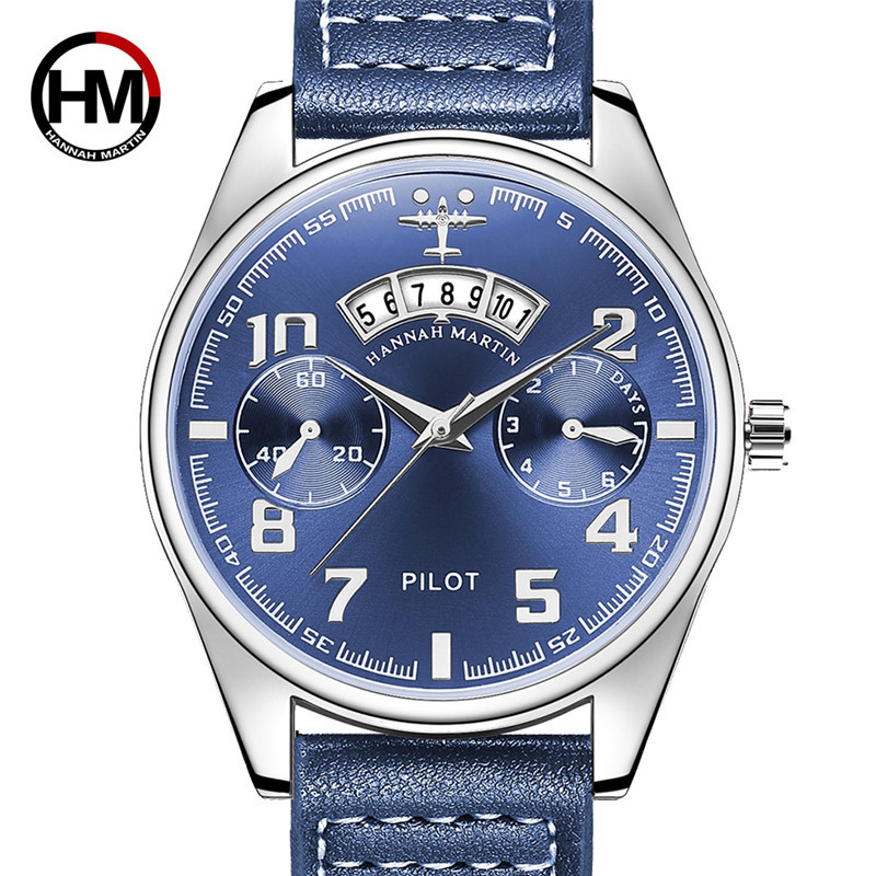 Luxury Top Brand HANNAH MARTIN Business Men Watch Leather Strap Sport Wrist Watch For Men With Calendar Steel Back Hombre Clock