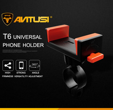 T6 Bicycle Phone Holder PC Plastic & Stainless Steel Universal Bike Support for 3.0 To 6.5 Cell Motorcycle MTB