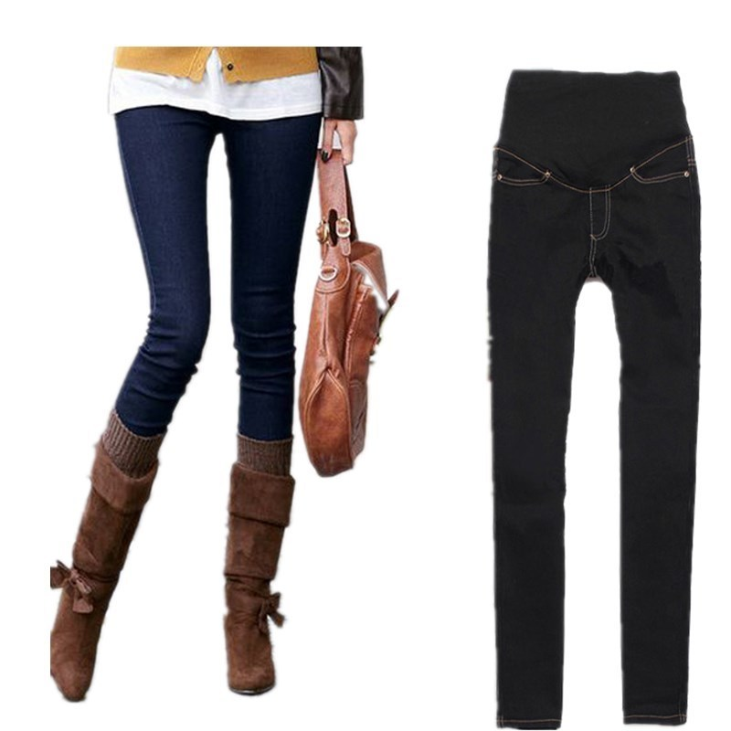 2015 new adjustable maternity skinny jeans pregnant woman belly pants abdominal trousers belly pants Pregnancy Jeans pants knee rips frayed hem skinny jeans