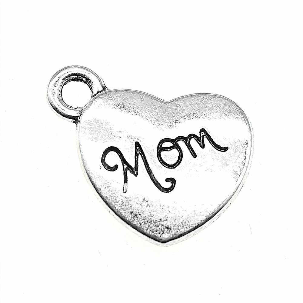 אמא קסמי תליון Diy ממצאי תכשיטים עתיק כסף טון 0.6x0.7 אינץ (15x18mm) 10 יח'\חבילה
