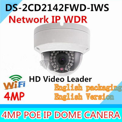 Original English version DS-2CD2142FWD-IWS 4MP dome wifi camera CCTV IP POE IR IP67 wireless mini Network IPC DS-2CD2142FWD-IWS free shipping in stock new arrival english version ds 2cd2142fwd iws 4mp wdr fixed dome with wifi network camera
