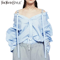 TWOTWINSTYLE Fashion Striped Top Female Blouse Long Sleeve Women S Shirt Sexy Off Shoulder Suspenders Tops