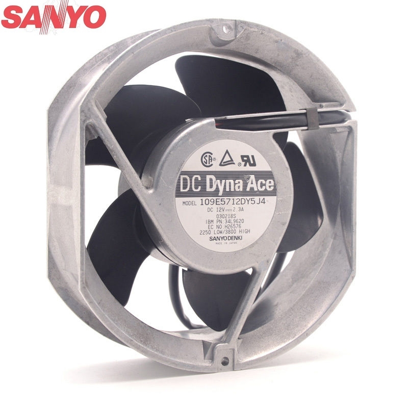 Original For Sanyo Cooling fan 109E5712DY5J4 12V 2.3A 172*172*51MM metal frame caseOriginal For Sanyo Cooling fan 109E5712DY5J4 12V 2.3A 172*172*51MM metal frame case