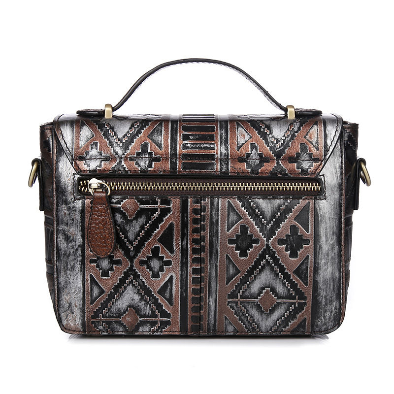 Brush Off Genuine Cow Leather Vintage Embossed National Style Handbags Crossbody Messenger Shoulder Bags Women Bohemia Casual