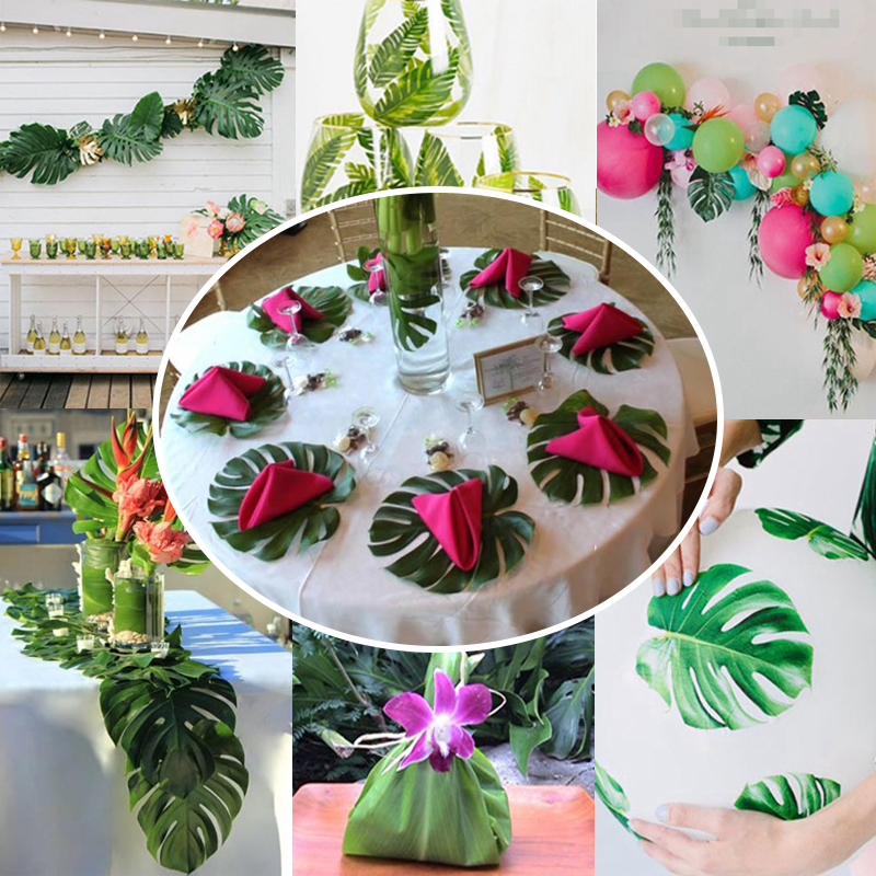 35x29cm 10pcs artificial tropical palm leaves for diy christmas 35x29cm 10pcs artificial tropical palm leaves for diy christmas party wedding table decorations beach theme home garden decor in party diy decorations from junglespirit Image collections