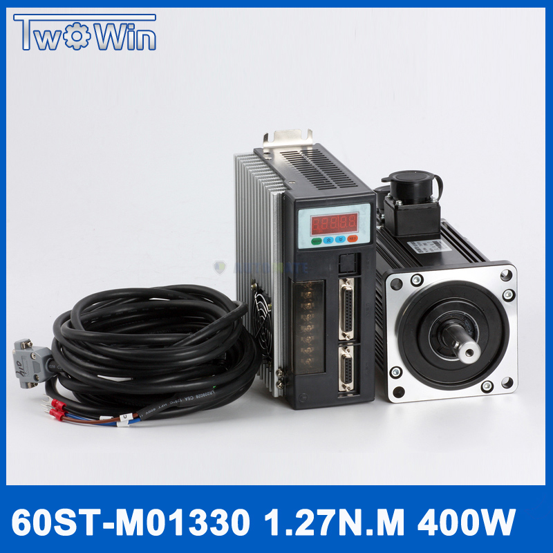 цена на 60ST-M01330 220V 400W AC Servo motor 3000RPM 1.27N.M. Single-Phase ac drive permanent magnet Matched Driver AASD-15A