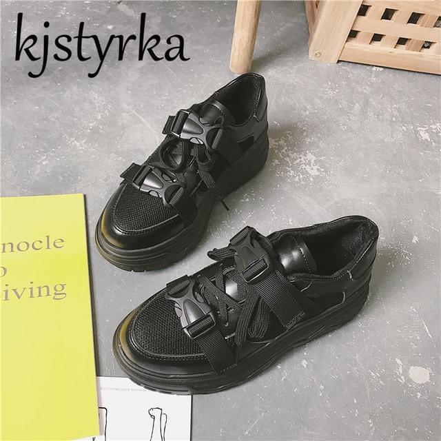 27aa57aafa3b Kjstyrka Leather + Mesh Women s Platform Dad Sneakers 2018 Fashion Buckle  Women Flat Walking Shoes Woman