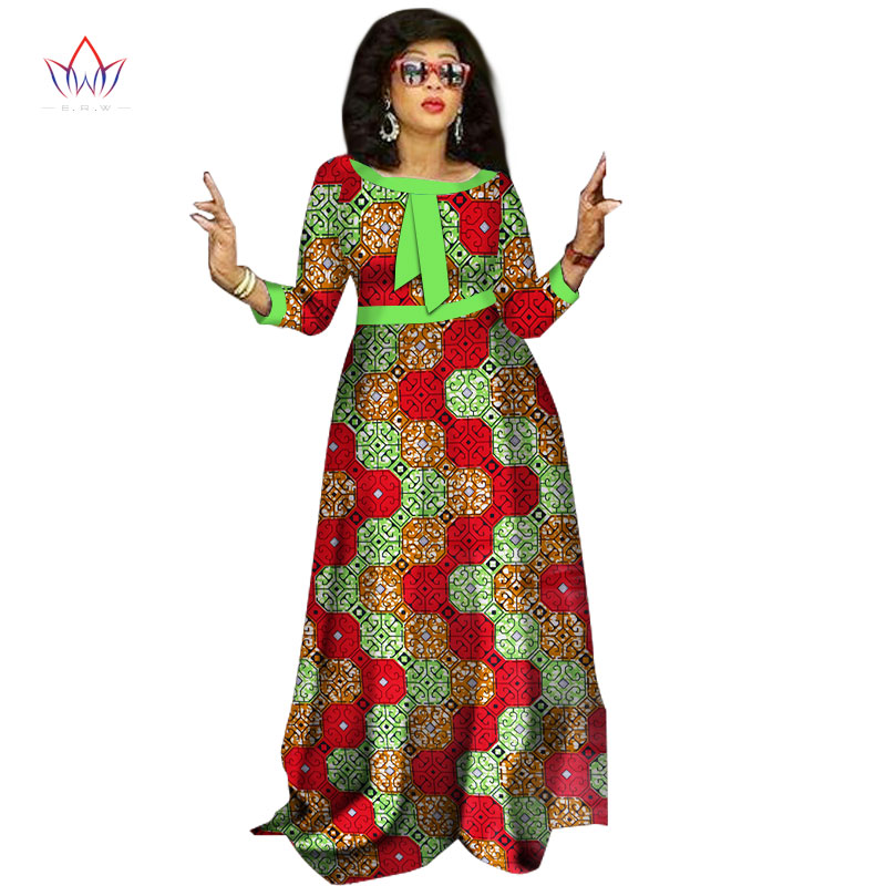 2017 afrikanske kjoler til damer Mote Design dashiki kvinner bazin - Nasjonale klær - Bilde 3