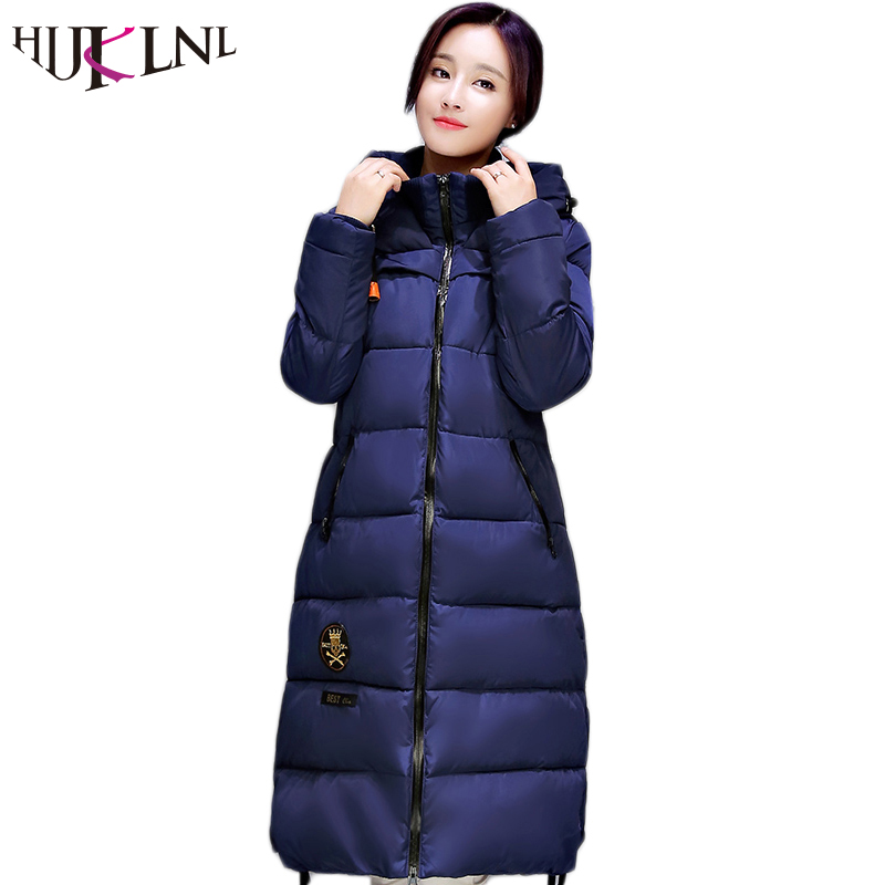 2017 European Style New Winter Female Cotton Jacket Long Thicken Coat Casual Warm Women Hooded Parkas
