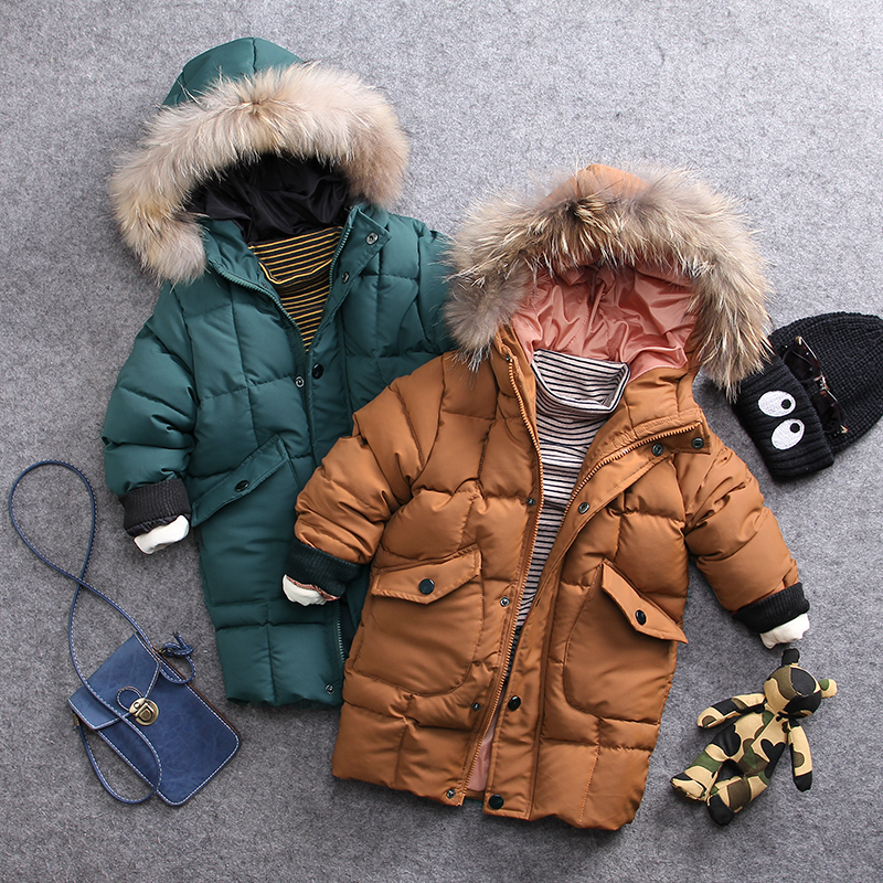 only winter coat 1pc 2-8Y new 2017 winter cotton-padded thick warm wool collar boys coat with hood boys new style windbreaker 2013 women autumn winter fashion candy color faux wool fur collar hood slim long thick cotton padded coatm l xl d2151