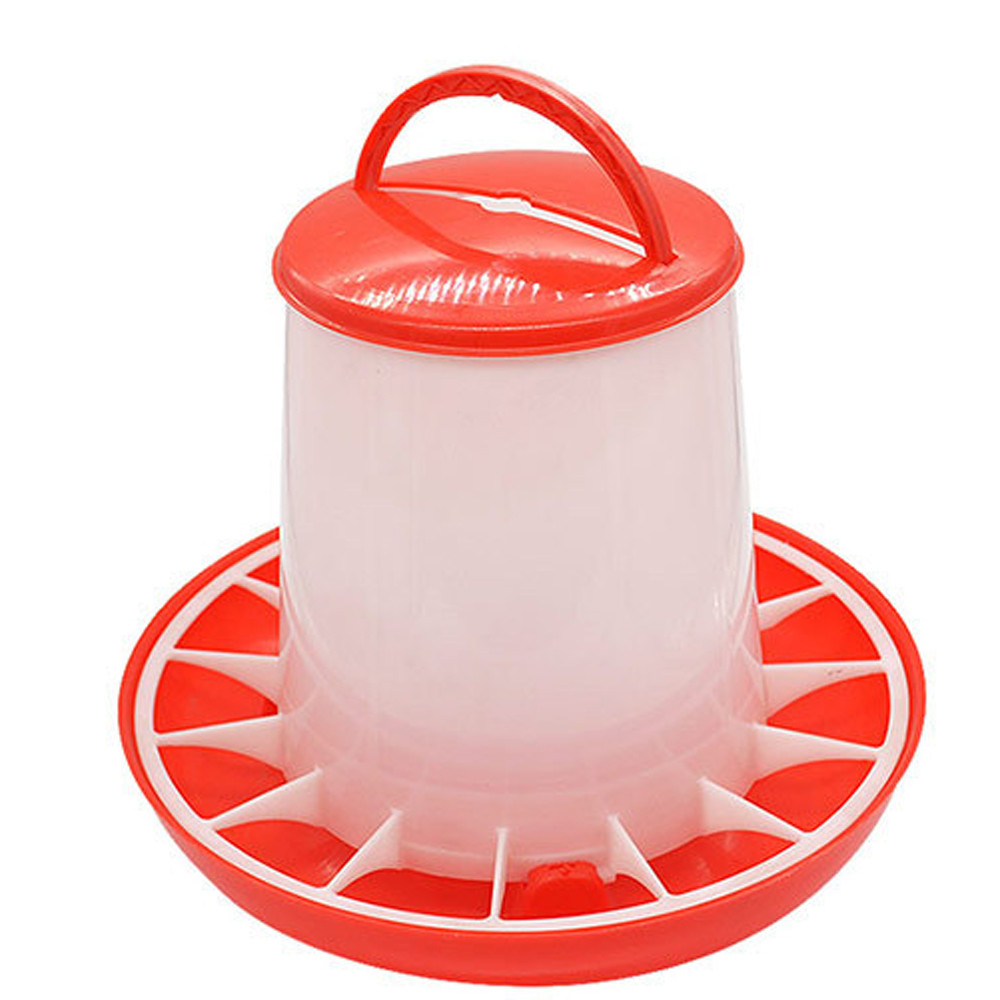 1.5kg Plastic Food Feeder Chicken Chick Hen Poultry Lid Handle Farm Animal Feeding Watering  Farm Animal Supplies#3$