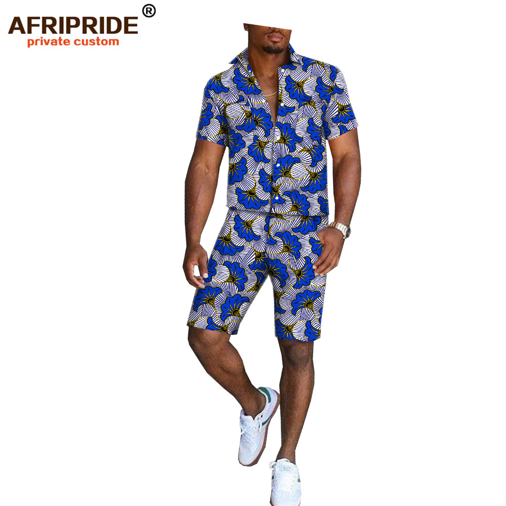 2019 Africa Print Summer Shorts Set For Men AFRIPRIDE Short Sleeve Single Breasted Top+knee Length Shorts Casual Set A1816006