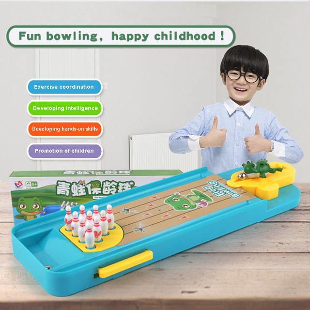 High Quality Cartoon Frog Bowling Balls Pins Table Set Shooting Game Sports Party Entertainment Equipment Gift for Children 1