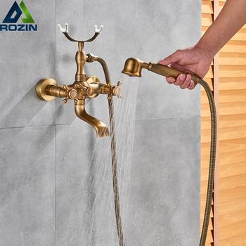 Retro Style mosiądz prysznic kąpielowy zestaw podwójne gałki ścienny wanna miksery z prysznicem recznym Swive wylewka tanie i dobre opinie rozin Brak Zimnej i Ciepłej Podwójny uchwyt podwójna kontrola Klasyczny RO-LWMD050 ceramic Brass Wall Mounted Bath Shower Faucet
