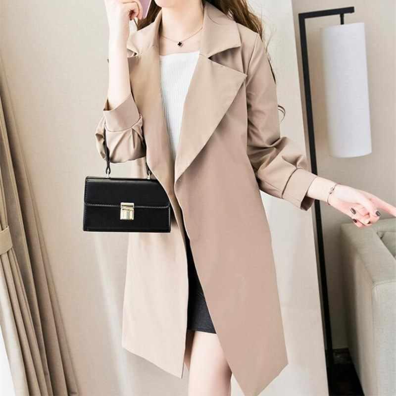 2018 الخريف جديد العلامة التجارية المرأة خندق معطف طويل سترة واقية أوروبا أمريكا أزياء الاتجاه ضئيلة طويلة خندق