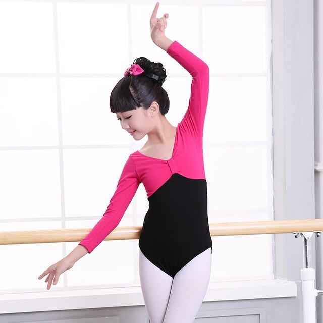 b77180fbaee0 Short  Long Sleeve Cotton Ballet Dance Leotard Girls Kids Children ...