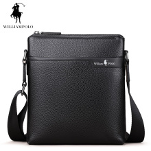 WILLIAMPOLO 2017 Genuine Leather Man Bag Crossbody Bag Business  Bolsas Feminina Handbags Black Men Mini Bags Brand POLO003D