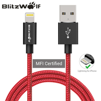 BlitzWolf MFI Certified Braided Mobile Phone Data Cable 1m 1 8m Charge Cable For Apple For
