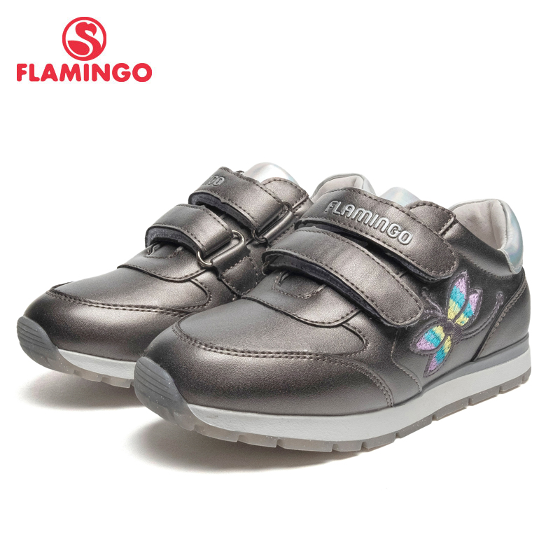 FLAMINGO Brand Breathable Arch EVA Hook& Loop Children Sport Shoes Leather Size 26-31 Kids Sneaker For Boy 91P-XC-1354