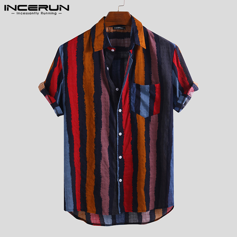 INCERUN Mens Shirt Striped Short Sleeve Streetwear Vintage Blouse Breathable Casual Hawaiian Shirts Camisa Masculina 2020 S-5XL