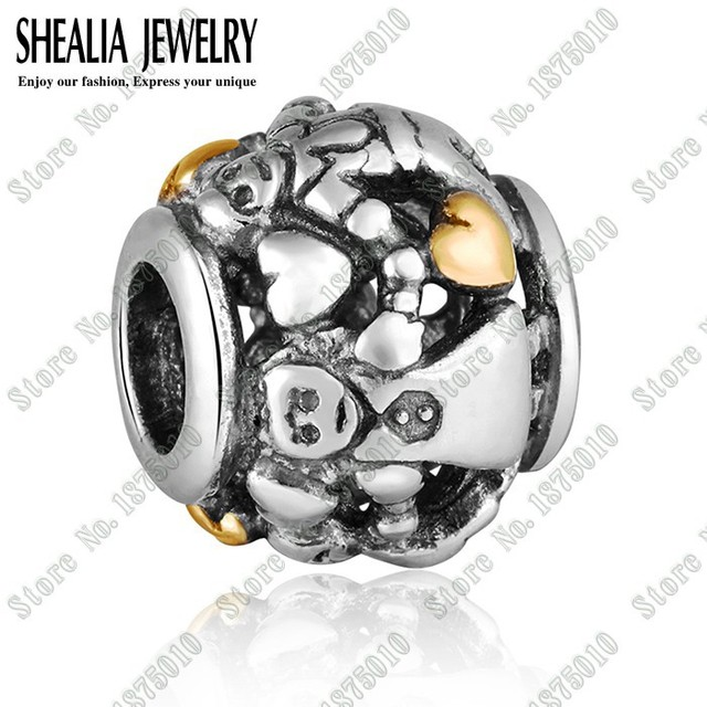 31eacc9ec Authentic 925 Sterling Silver Gold Family Forever Charm with 14K Heart Fits  Pandora BraceletsThreaded European Marking