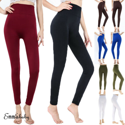 2019 New Womens   Leggings   Warm Black Fleece Velvet Thermal Pants Slim Warm   Leggings   5 Color Solid Color High Waist   Leggings