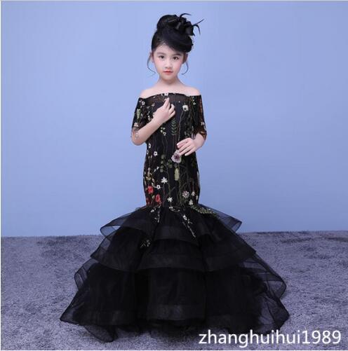 Elegante vestido de niña de las flores de sirena personalizado - Ropa de bebé