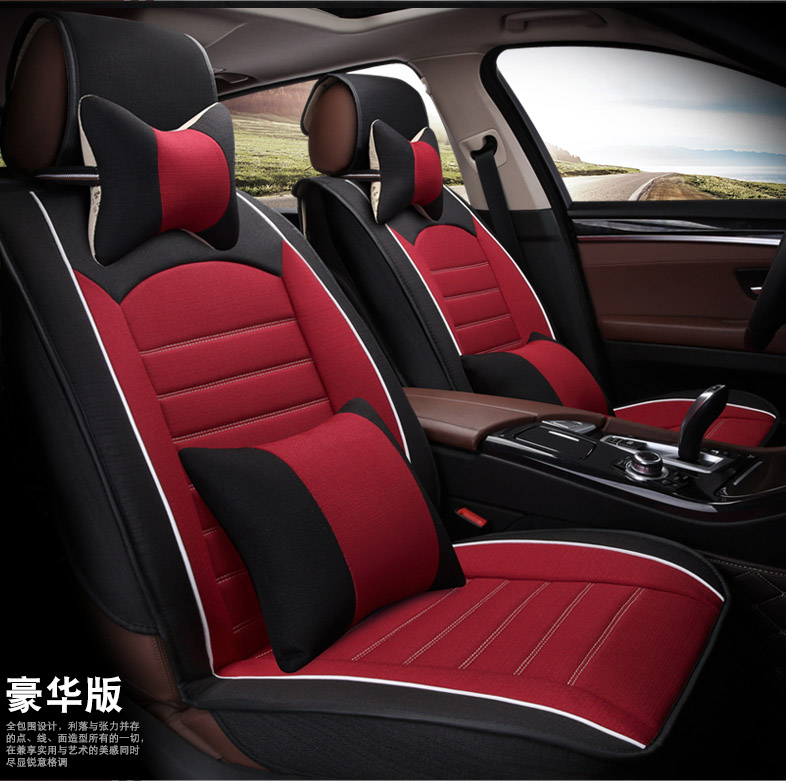 5 Pieces Set 2016 New Arrival Female Car Seat Covers Four Season Women Flax Texture Of Material Girls Cover Cushion