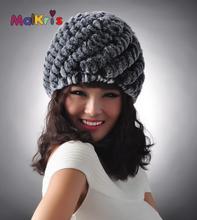 2016 Newest Women's Warm Winter Real Knitted Rex Rabbit Fur Hats Lady Winter Warm Charm Beanies Caps Female Headgear