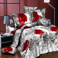 Hot Sale 3d Effect Bedding Set 4pcs Queen Size Pink Rose Style Pillowcases Quilt Cover Bed
