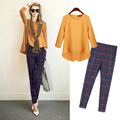 Fashion Women's Set With Scarf Chiffon Blouse + Plaid Pants Side Zipper Long Sleeve Tops Pullover 2 Pieces Set Plus Size S6905