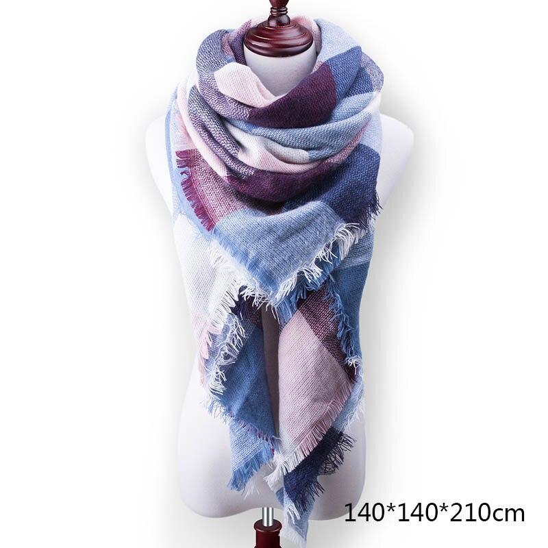 Горячая Распродажа, Модный зимний шарф, Женские повседневные шарфы, Дамское Клетчатое одеяло, кашемировый треугольный шарф,, Прямая поставка - Цвет: A19