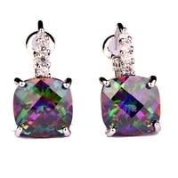 JROSE Engagment Wedding Fashion Colorful Rainbow & White Topaz Dangle Hook Silver Earrings Wholesale Jewelry Free Shipping