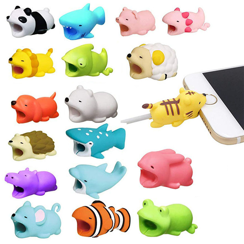 1 pcs Animal Phone Holder Cable Bite Protector Winder Accessory Model for Iphone Funny Animal Sheep Salamanders More Animals