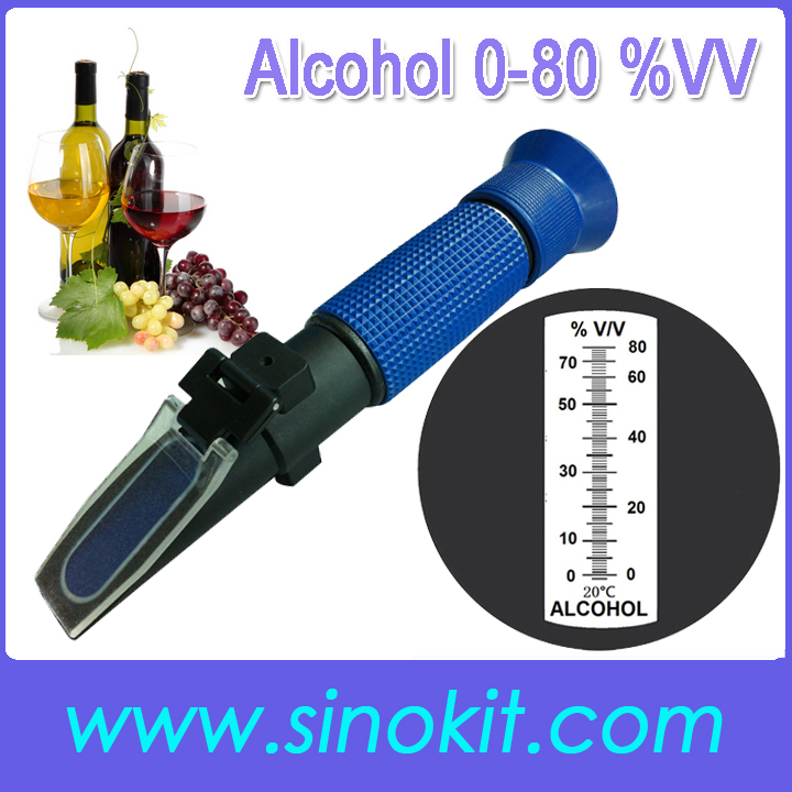 Free Shipping Cheap 0-80% V V Alcohol ABS Plastic Hand Refractometer P-RHV-80ATC image