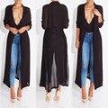 2016 новая мода длинные половина рукава пальто доры шифона тряпка для женщины женщина пальто и пиджаки причинно одеяние длинное платье сексуальная