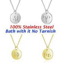 100% Genuine Stainless Steel 12 Constellation Charm Necklaces For Women High Polish Round Disc Zodiac Pendant Necklace Wholesale(China)
