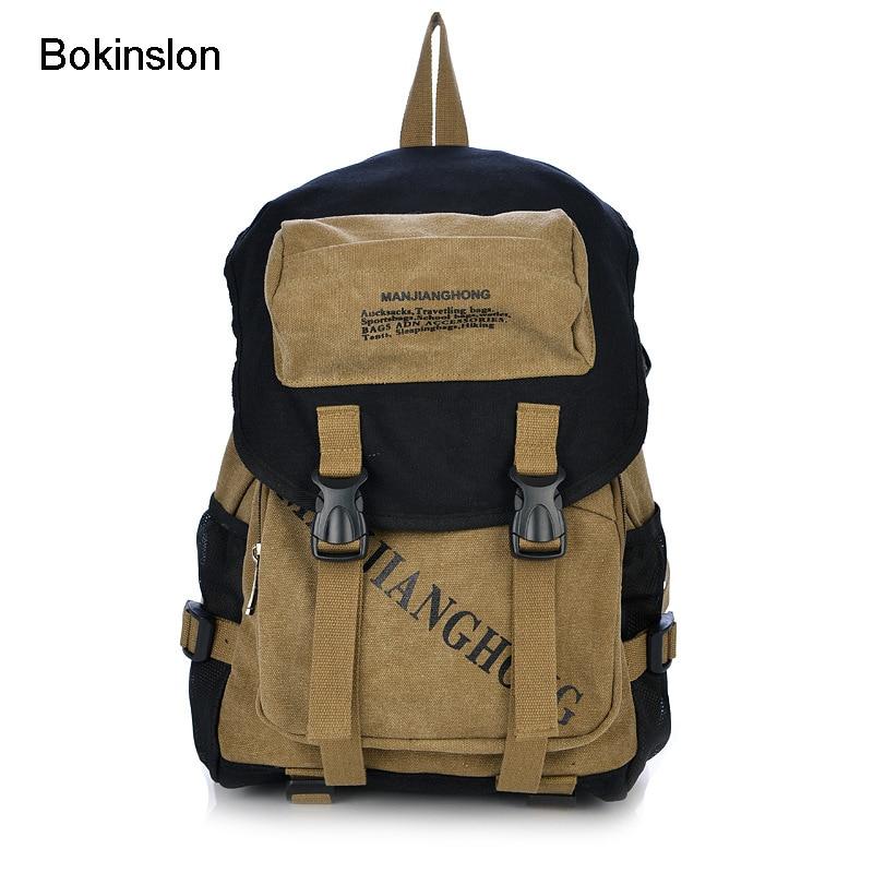 Bokinslon Men Backpacks Fashion Canvas Man Travel Backpacks Casual College Wind Male Backpack Bag рюкзаки zipit рюкзак shell backpacks