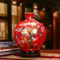 Jingdezhen Ceramic Red Painting Glazed Chinese Flower Vase Home Decoration Furnishing Articles Floral Pomegranate Flower Vase