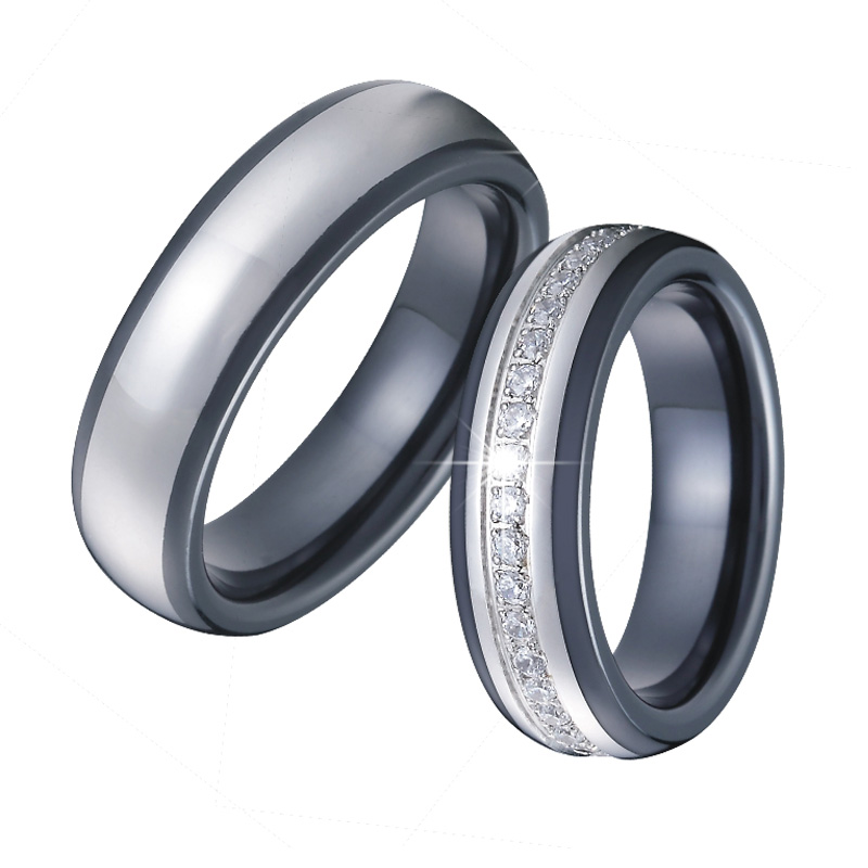 Men Wedding Band Ceramic Rings Black Silver Color anillos anel bague Cubic Zirconia Couple Engagement Rings for Women logo engraved titanium steel gold silver love rings for women men cubic zirconia engagement wedding rings anillos bague femme