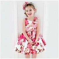 Kid Girls Sleeveless One Piece Dress Princess Floral Dress Party Tutu Dress
