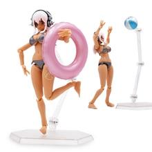 купить 15cm Anime Super Sonico Action Figure Figma EX-023 Super Sonico Beauty Model Good Collection Doll Sexy Toys Free Shipping по цене 1042.08 рублей