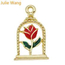 Julie Wang 10PCS Enamel Rose Flowers Charms Alloy Gold Tone Bracelet Necklace Pendant Jewelry Making Accessory julie wang 10pcs enamel mermaid whale fish tail charms mixed colors gold tone bracelet necklace alloy jewelry making accessory