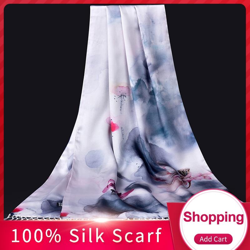100% Pure soie foulard dames marque de luxe 2019 Hangzhou soie châles et enveloppes pour les femmes imprimer gland naturel vraie soie foulards