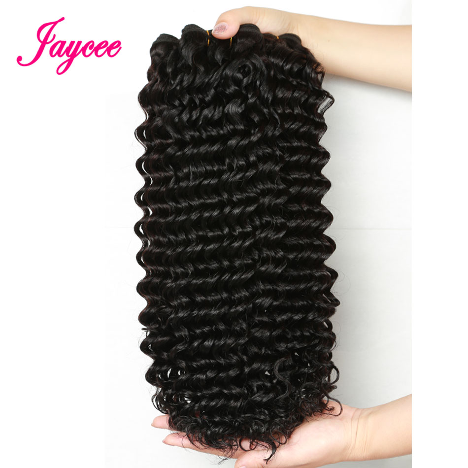Brazilian Deep Wave Remy hair 1piece black human hair weaving extension thick full weft bundles No Shedding no Tangle
